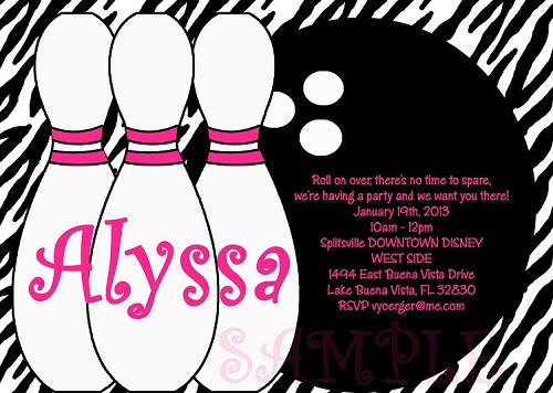 Zebra Print Bowling Birthday Party Invitations