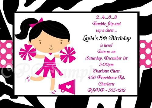 Zebra Print Cheerleading Birthday Invitations
