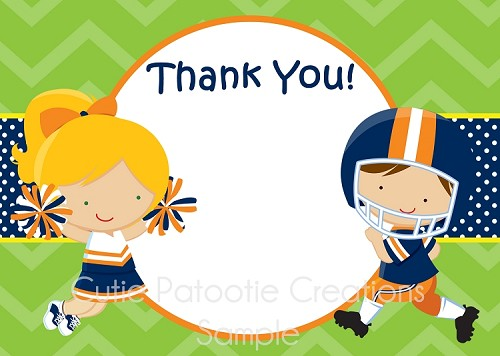 Football Cheerleader Thank You Note Cards