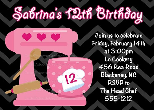 Cooking Mixer Birthday Party Invitations