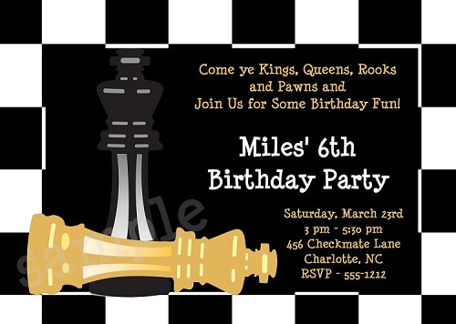 Chess Birthday Party Invitations
