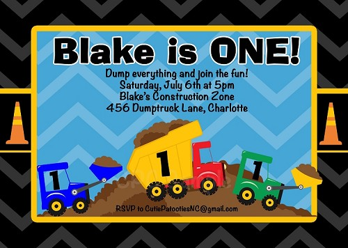Dump Truck Birthday Invitations - Printable or Printed