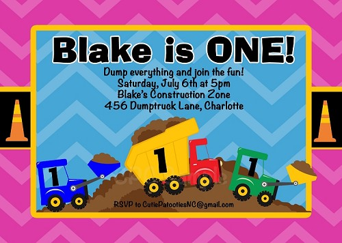 Under Construction Birthday Party Invitations - Printable or Printed