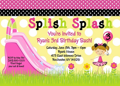 Mouse Ears Pool Party Birthday Invitations, Printable or Printed