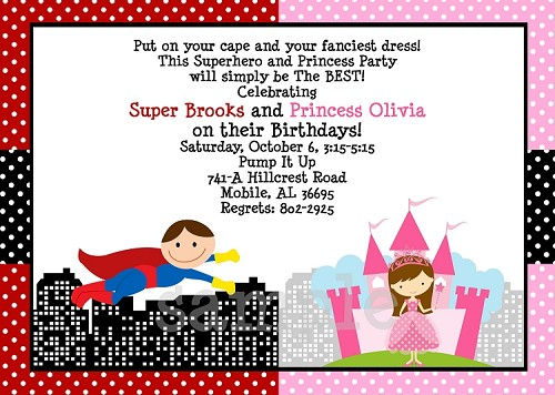 princess and superhero birthday party invitations printable or printed
