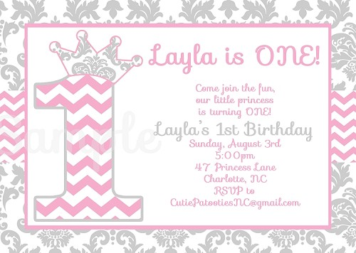 Pink & Grey Chevron Damask Invitations