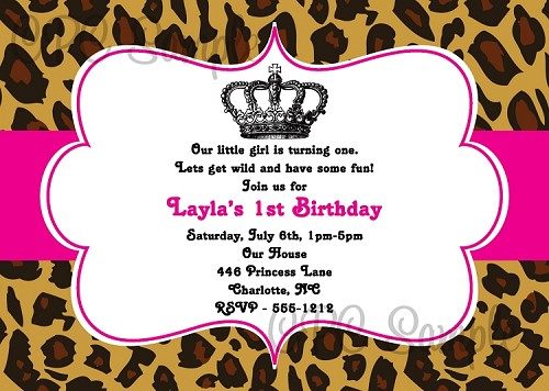 Leopard Princess Birthday Invitations