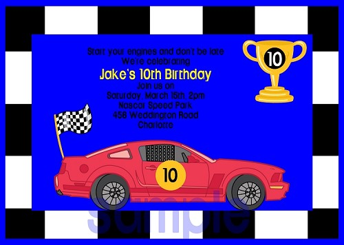 Race Cars Birthday Invitations - Printable or Printed