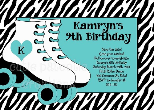 Roller Skating Party Invitations - Turquoise Teal Zebra Print Rollerskate Birthday Invitation