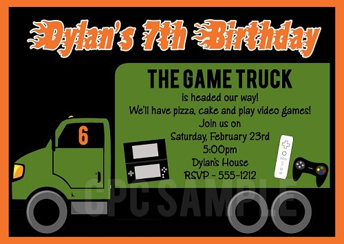 Video Game Truck Birthday Invitations