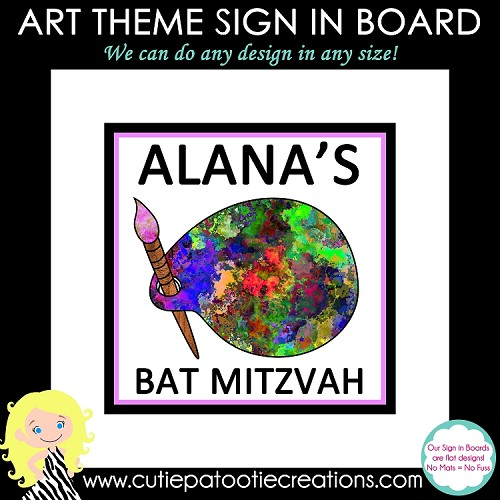 Paint Palette Art Theme Bat Mitzvah Sign in Board or Sign in Pillow