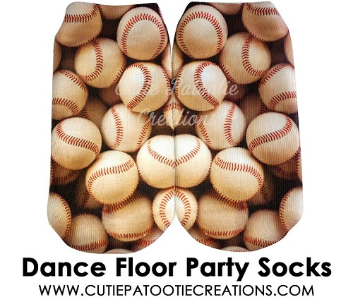 Baseball Dance Floor Party Socks for Bar Mitzvah, Bat Mitzvah - Ankle Socks