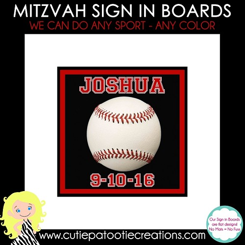 Baseball Bar Mitzvah Sign in Board or Sign in Pillow - Custom Colors Available