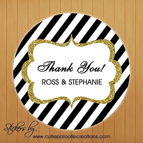 Black and White Striped Gold FAUX Glitter Personalized Stickers