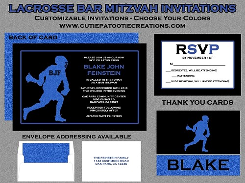Lacrosse Bar Mitzvah Invitations - LAX Bar Mitzvah Invitations