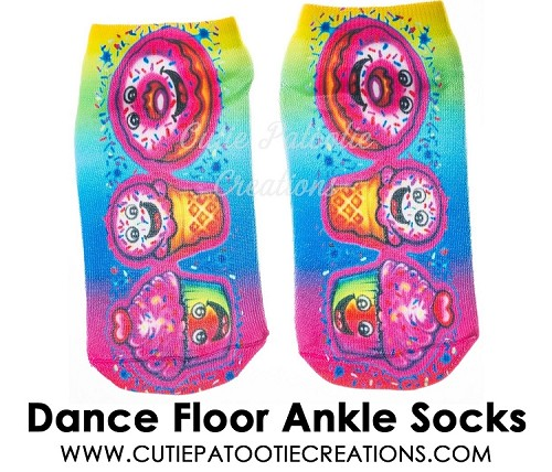 Tie Dye Dance Floor Socks with Donut, Cupcake and Ice Cream - Ankle Length