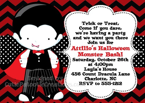 Count Dracula Vampire Halloween Costume Party Birthday Invitations