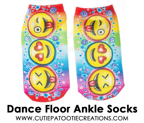 Dance Floor Party Socks for Mitzvahs, Weddings, Sweet 16 - Emoji Pattern
