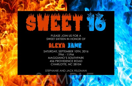 Fire and Ice Sweet 16 Birthday Invitation - Quinceanera Invitations