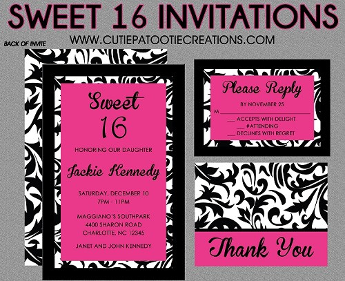 Black, White & Hot Pink Sweet 16 Invitations  - Quinceanera Invitation