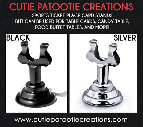 Place Card Stands in Silver and Black - Great for Sports Ticket Place Cards - Food Table - Menu and More.