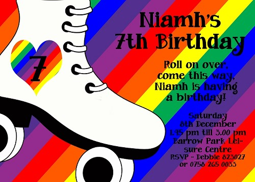 Rainbow Roller Skating Birthday Invitations - Printable or Printed