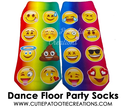 Tie Dye Emoji Dance Floor Party Socks for Bar Mitzvah, Bat Mitzvah, B'Nai Mitzvah - ANKLE LENGTH