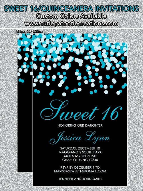Tiffany Blue & Black Confetti Sweet 16 Invitations - Quinceanera Invitation