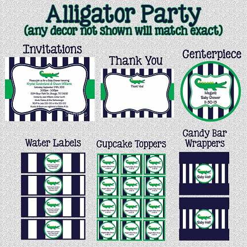 Preppy Alligator Printable Party Package - Invitations - Party Decorations - Party Supplies