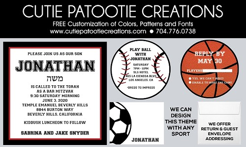 Square All Sports Bar Mitzvah Invitations with Round Party Card