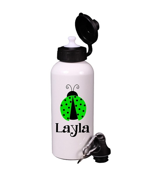 Personalized Lime Green Ladybug Water Bottle