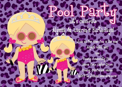 Purple Leopard Pool Party Invitations for Siblings