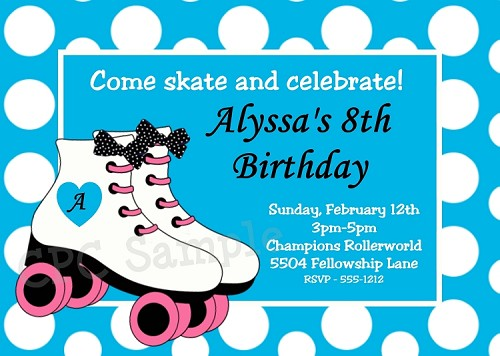 Roller Skating Party Invitations with Blue and White Dots - Printable or Printed