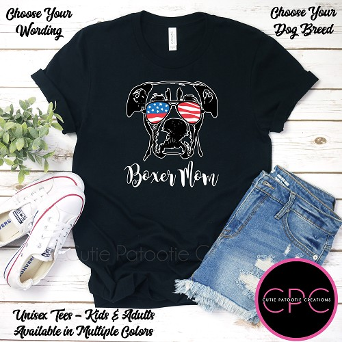 Personalized Boxer Mom Black T-Shirt, Boxer Dad Shirt, Unisex Tees with or without USA Sunglasses