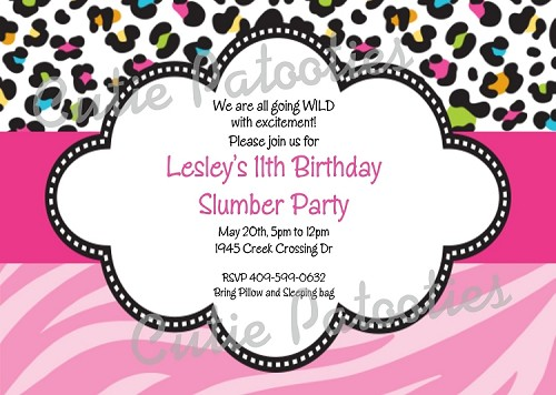 Pink Leopard Zebra Print Birthday Party Invitations