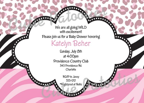 Pastel Pink Leopard Print Party Invitations, Printable or Printed