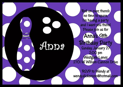 Purple Polka Dot Bowling Birthday Invitations