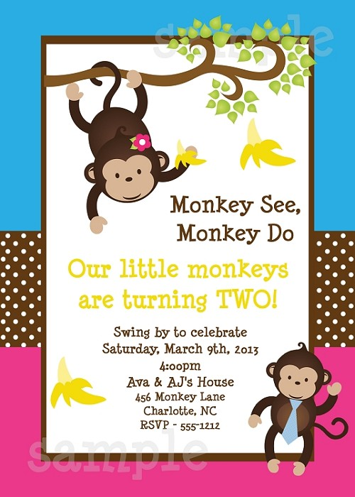Mod Monkey Safari Birthday Party Invitations | Animal Invitations - Printable or Printed