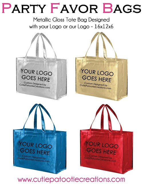 Personalized Metallic Party Favor Tote Bags with Logo - MINIMUM 100