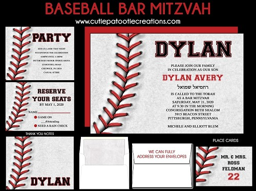 Baseball Bar Mitzvah Invitation - Baseball B'Nai Mitzvah Invitations - Sports Bar Mitzvah Invitation