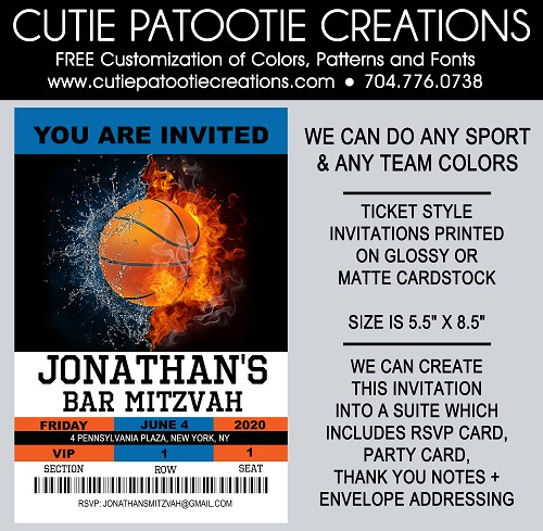 Basketball Sports Ticket Bar Mitzvah Invitation - We can do ANY SPORT