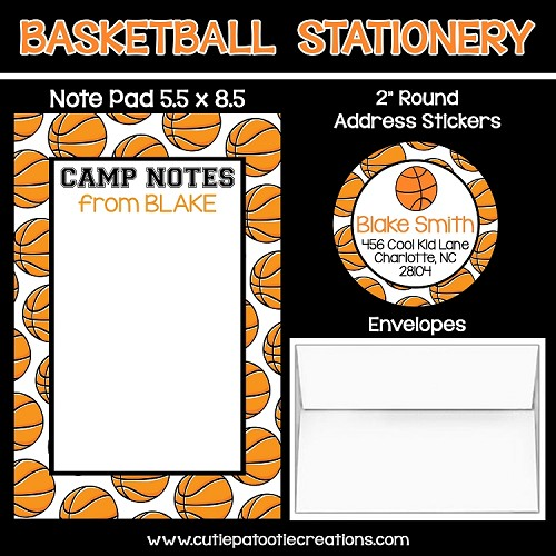 Basketball Personalized Custom Notepads, Stationery, Stickers