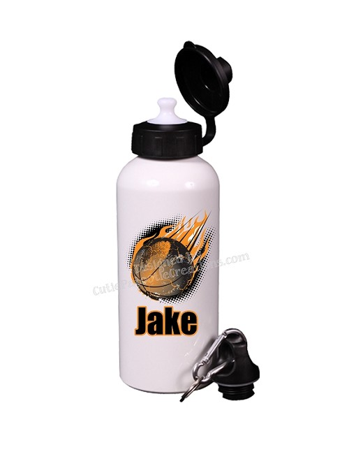 Personalized Basketball Flames Water Bottle