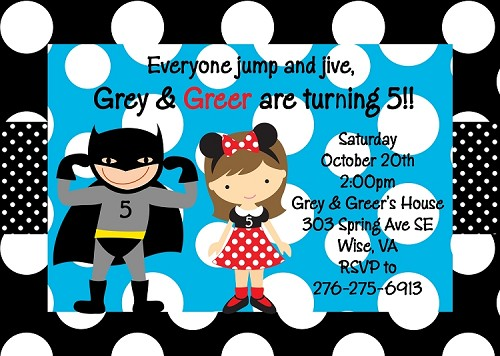 Batman and  Mouse Ears Birthday Invitations - Printable or Printed