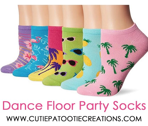 Dance Floor Party Socks - Beach Theme with Palm Trees and Hibiscus Flowers