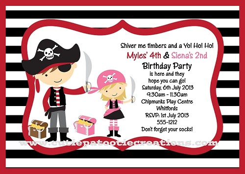 Pink and Red Pirate Invitations for Kids