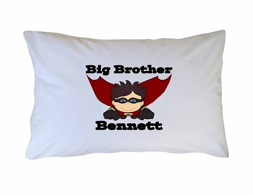 Personalized Big, Little, Middle Brother Pillow Case for Kids, Adults and Toddler