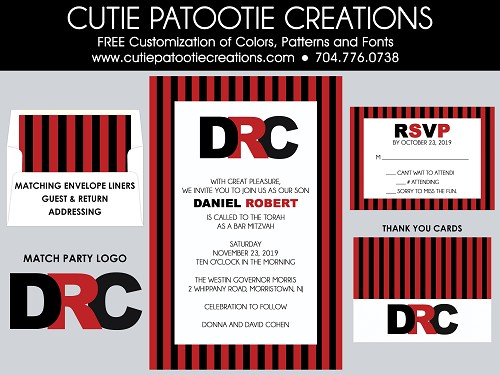 Red and Black Stripes Bar Mitzvah Invitations