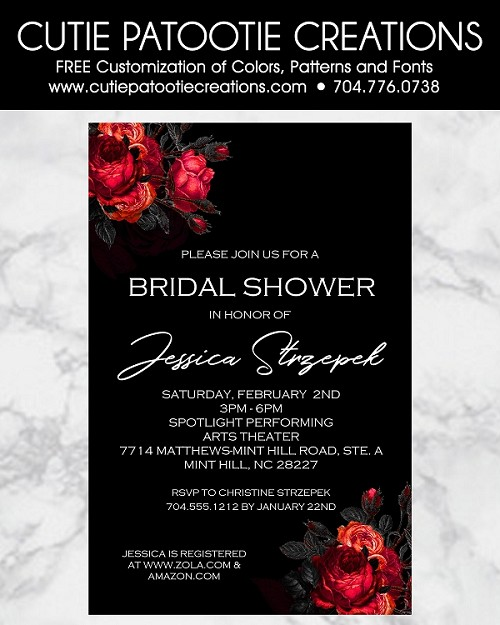 Black and Red Roses Wedding Shower Invitations