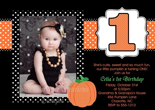 1st Birthday Pumpkin Invitation